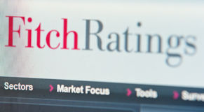 Fitch ratings. Screenshot of Fitch Ratings research homepage. Financial ratings for European countries are crucial for their economies royalty free stock image