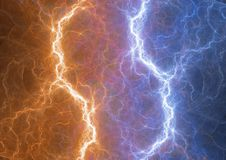 Fite and ice lightning bolt Royalty Free Stock Photos