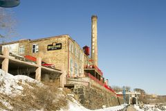 Fitgers Brewery along Lake Superior in Duluth, Minnesota. Duluth, Minnesota, USA - February 11, 2018 :  Exterior of historic Fitgers Brewery along Lake Superior Royalty Free Stock Image