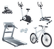 Fitnes体育-路辗行使自行车步进tr 免版税库存照片