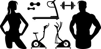 Fitness – Gym equipment (Vector) Royalty Free Stock Photos