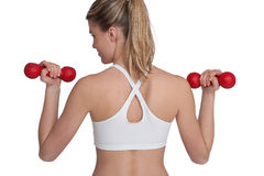Fitness – Young sportive woman with weights Royalty Free Stock Photos