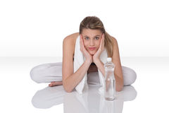 Fitness – Young woman with bottle of water Royalty Free Stock Photo