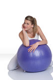 Fitness – Young woman with exercise ball on whit Royalty Free Stock Photo