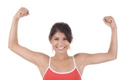 Fitness. Young woman on white background in a fitness pose Stock Photography
