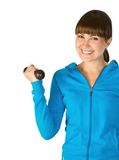 Fitness. Pretty smiling girl doing some aerobic exercise Stock Photography