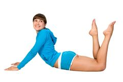 Fitness. Attractive young woman is doing some exercises Royalty Free Stock Photo