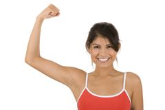 Fitness. Young woman on white background in a fitness pose Stock Images