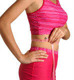 Fitness. An Asian women measuring her waist Stock Photo