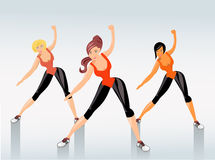 Fitness. Young attractive girls exercising, vector illustration Stock Images