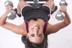 Fitness Happens Woman on Weight Bench in Gym  Royalty Free Stock Photo