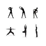 Fitness. Or yoga women silhouettes. Vector illustration Royalty Free Stock Photography