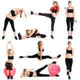 Fitness. Beautiful woman doing fitness exercises royalty free stock image