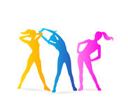 Fitness. Or yoga women silhouettes. Vector illustration Royalty Free Stock Photo