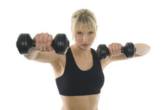 Fitness. A lucky woman does fitness Royalty Free Stock Photos