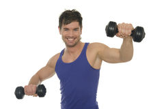 Fitness. A lucky man does fitness Royalty Free Stock Photos