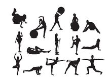 Fitness. Female fitness set and pilates Royalty Free Illustration