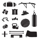 Fitness accessorize vector. Home fitness equipment set. Fitness kit vector illustration. Workout equipment set Stock Photography