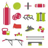 Fitness accessorize vector. Workout equipment set. Fitness props vector illustration. Workout equipment set Stock Photos