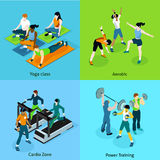 Fitness Aerobic Isometric Icons Set Royalty Free Stock Photos