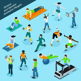 Fitness Aerobic Isometric People Icon Set Stock Photography