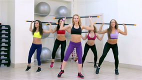 Fitness. Aerobics with body-bar stock video footage