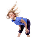 Fitness/ aerobics/ dance instructor banding over with disheveled hair Stock Photo