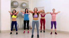 Fitness. Aerobics with dumbbells stock footage