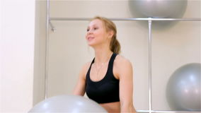 Fitness. Aerobics with the fitballs closeup stock video