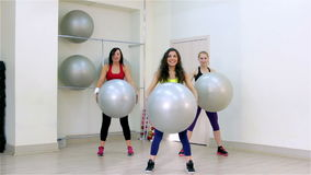 Fitness. Aerobics with the fitballs stock video