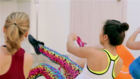 Fitness. Aerobics on the floor stock video