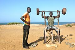 Fitness in Africa on the beach Royalty Free Stock Photography