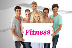 Fitness against white wave design Royalty Free Stock Images