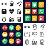 Fitness All in One Icons Black & White Color Flat Design Freehand Set. This image is a vector illustration and can be scaled to any size without loss of Royalty Free Stock Image