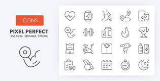 Free Fitness And Gym Line Icons 256 X 256 Stock Images - 186082354