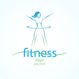 Fitness ans sport girls icons. Abstract logo with silhouette fitness girl Royalty Free Stock Photo