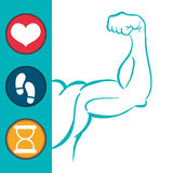 Fitness app technology icons Stock Photo