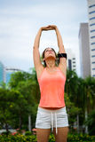 Fitness arms stretching exercise Stock Photo
