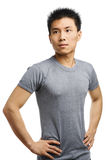 Fitness Asian young man looking away Stock Image