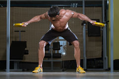 Fitness Athlete Doing Heavy Weight Exercise For Back Stock Photos
