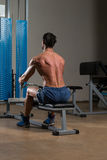 Fitness Athlete Doing Heavy Weight Exercise For Back Stock Image