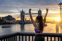 Fitness athlete after sport exercising and outdoor workout stock image
