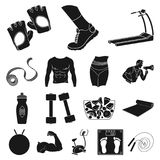 Fitness and attributes black icons in set collection for design. Fitness equipment vector symbol stock web illustration. Royalty Free Stock Image