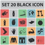 Fitness and attributes black icons in set collection for design. Fitness equipment vector symbol stock web illustration. Stock Images