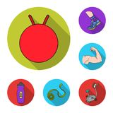 Fitness and attributes flat icons in set collection for design. Fitness equipment vector symbol stock web illustration. Fitness and attributes flat icons in set Stock Photography