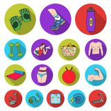 Fitness and attributes flat icons in set collection Stock Images