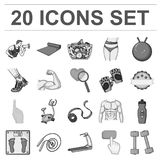 Fitness and attributes monochrome icons in set collection for design. Fitness equipment vector symbol stock web Royalty Free Stock Photos