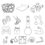 Fitness and attributes outline icons in set collection for design. Fitness equipment vector symbol stock web Royalty Free Stock Photography
