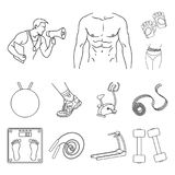Fitness and attributes outline icons in set collection for design. Fitness equipment vector symbol stock web. Fitness and attributes outline icons in set Stock Images