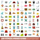 100 fitness award icons set, flat style. 100 fitness award icons set in flat style for any design vector illustration Vector Illustration